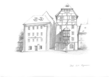 Cheb, Czech Republic, Graphic, Fine Art,Impressionism,Modernism,Realism, Architecture, Pencil, By Ivan Klymenko