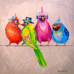 Cheerful company, Paintings, Fine Art,Impressionism, Animals,Humor,Nature, Canvas,Oil,Painting, By Olha   Darchuk