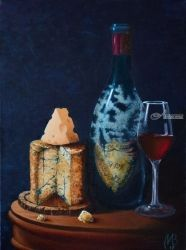 Cheese and wine. Nikolay<br>Velikiy 2017, Paintings, Realism, Still Life, Canvas,Oil, By Nikolay Velikiy