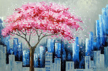 Cherry blossom in New York, Paintings, Fine Art,Impressionism, Architecture,Landscape, Canvas,Oil,Painting, By Olha   Darchuk
