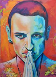 Chester Bennington in Hyper<br>Realism, Paintings, Modernism,Realism, Portrait, Acrylic, By Lynne Bolton