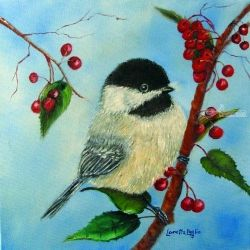 Chickadee and Winterberries, Paintings, Fine Art,Realism, Animals,Wildlife, Canvas,Oil,Painting, By Loretta Luglio