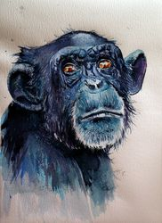 Chimpanzee, Paintings, Impressionism, Animals, Watercolor, By Kovacs Anna Brigitta