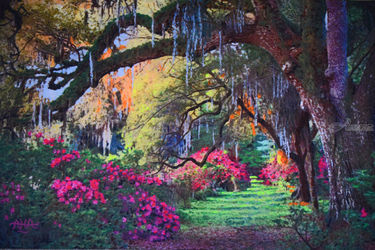 Chromatic Garden Path, Paintings, Impressionism,Realism, Landscape, Acrylic, By Adrian Arvin