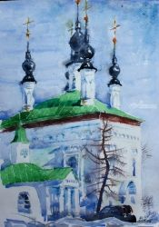 Church in Suzdal, Paintings, Realism, Architecture, Watercolor, By Victor Ovsyannikov