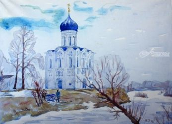 Church of the Intercession of<br>the Virgin on the Nerl, Paintings, Realism, Landscape, Watercolor, By Victor Ovsyannikov