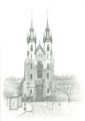 Church of St. Anthony of<br>Padua, Prague, Graphic, Fine Art,Impressionism,Realism, Architecture, Pencil, By Ivan Klymenko