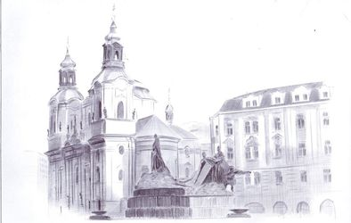 church of St. Nicholas, Drawings / Sketch, Realism, Architecture,Cityscape, Mixed, By Oleg Kozelskiy