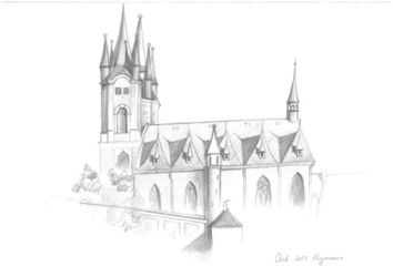 Church of st. Nicholas. Cheb,<br>Czech Republic, Graphic, Realism, Architecture, Pencil, By Ivan Klymenko
