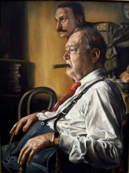 Churchill, Paintings, Realism, Figurative,Portrait, Canvas,Oil,Painting, By Andrew Khalturin