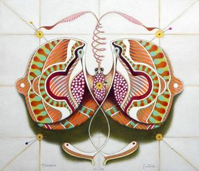 Circular butterfly, Paintings, Surrealism, Animals, Oil, By federico cortese