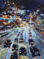 City Night Traffic, Paintings, Impressionism, Cityscape,Landscape, Oil, By Anastasiya Valiulina