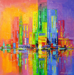 City of happy people, Paintings, Abstract,Impressionism, Architecture,Cityscape,Fantasy, Canvas,Oil,Painting, By Olha   Darchuk