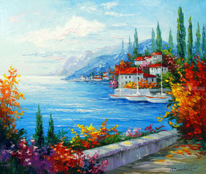 City on the sea coast, Paintings, Fine Art,Impressionism, Floral,Landscape, Canvas,Oil,Painting, By Olha   Darchuk