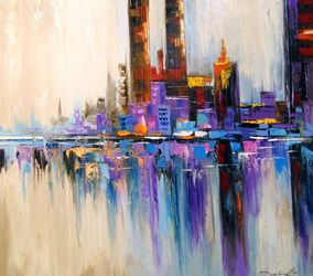 City Tetris, Paintings, Abstract,Expressionism, Analytical art,Architecture,Cityscape,Landscape, Canvas,Oil,Painting, By Olha   Darchuk