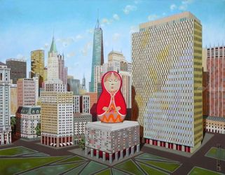 Civic Center in New York with<br>Matrioska, Paintings, Fine Art,Surrealism, Architecture,Landscape, Oil, By federico cortese