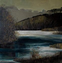 Clatworthy Reservoir, Paintings, Expressionism, Landscape, Canvas,Oil, By Justyna Kopania
