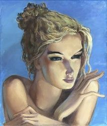 Claudia, Paintings, Impressionism, Portrait, Canvas,Oil,Painting, By Irina Kupyrova