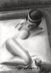 Cleopatra – 22-12-18, Drawings / Sketch, Cubism,Fine Art,Realism,Surrealism, Anatomy,Composition,Figurative,Historical,Inspirational,Nudes,People, Pencil, By Corne Akkers