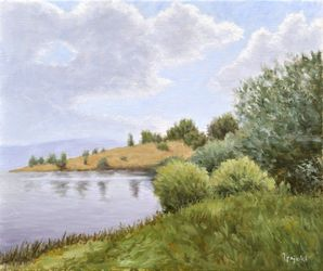 Coast of Lake, Paintings, Fine Art,Impressionism,Realism, Landscape,Nature, Canvas,Oil, By Dejan Trajkovic