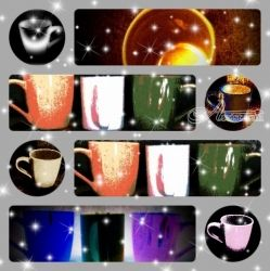 Coffee Cups Collage, Collage,Digital Art / Computer Art,Paintings,Poster, Fine Art, Analytical art,Composition,Daily Life,Inspirational, Digital,Mixed,Painting,Pastel,Photography: Photographic Print, By Catherine Bayani
