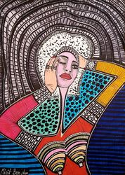 Colorful contemporary<br>paintings from Israel, Paintings, Expressionism, People, Ink, By Mirit Ben-Nun