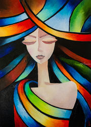 Colorful dreams, Paintings, Abstract,Surrealism, Portrait, Oil, By Liubov Kuptsova