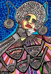 Colorful modern art from<br>Israel Mirit Ben-Nun, Paintings, Expressionism, People, Ink, By Mirit Ben-Nun