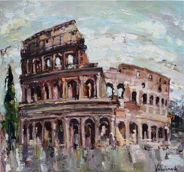Colosseum - Italy Original oil<br>painting, Paintings, Abstract,Impressionism, Architecture,Cityscape,Historical, Canvas,Oil, By Anastasiya Valiulina