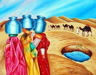 COLOUR OF OASIS, Paintings, Fine Art, Figurative, Canvas, By RAGUNATH VENKATRAMAN