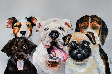 Company of dogs, Paintings, Impressionism, Animals,Humor, Oil, By Liubov Kuptsova