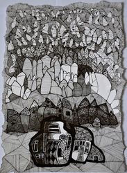 Comunity, Architecture,Drawings / Sketch, Impressionism, Architecture, Ink, By Vyara Tichkova
