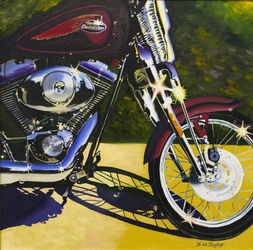 Convertible Harley, Paintings, Fine Art, Still Life, Canvas,Oil, By Keith Lambert
