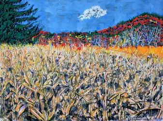 Corn field in Pennsylvania, Paintings, Expressionism, Landscape, Acrylic, By Victor Ovsyannikov