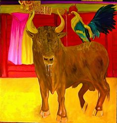 corrida, Paintings, Expressionism, Animals, Oil, By alberto texier