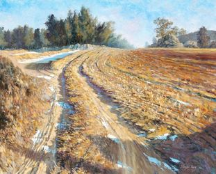Country Field in Winter,<br>Namwon, Paintings, Impressionism, Landscape, Canvas,Oil, By Mason Kang