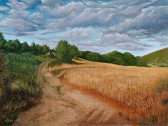 Country Road, Paintings, Fine Art,Realism, Landscape,Nature, Canvas,Oil, By Dejan Trajkovic