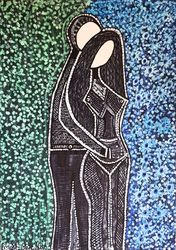 Couple drawings modern artwork<br>from Israel Mirit Ben-Nun, Drawings / Sketch, Abstract, Fantasy, Ink, By Mirit Ben-Nun