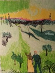 Couple Walking, Pastel, Impressionism, Landscape, Pastel, By MD Meiser