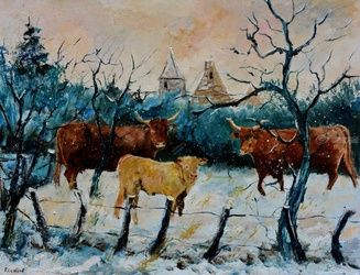 cows in winter, Architecture,Decorative Arts,Drawings / Sketch,Paintings, Impressionism, Landscape, Canvas, By Pol Ledent