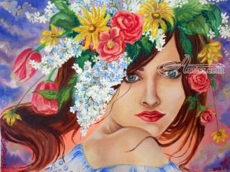 CreFeDraSucFru . The 5<br>elements., Paintings, Expressionism,Futurism,Impressionism,Romanticism, Avant-Garde,Botanical,Conceptual,Decorative,Fantasy,Floral,Portrait, Canvas,Oil,Painting, By Irina Bardita