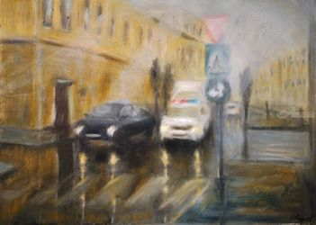 Crossroad, Paintings, Fine Art,Impressionism, Cityscape, Oil,Wood, By Angela Suto