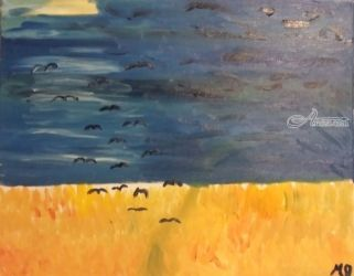 Crows, Paintings, Impressionism, Landscape, Oil, By MD Meiser