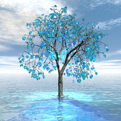 Crystal Blue Tree, Digital Art / Computer Art, Abstract,Commercial Design,Modernism, Botanical,Decorative,Fantasy,Landscape, Digital, By Matthew Lacey