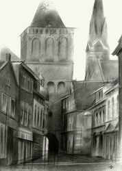 Culemborg - 21-11-15, Drawings / Sketch, Abstract,Cubism,Fine Art,Impressionism,Realism,Surrealism, Architecture,Cityscape,Composition,Figurative,Inspirational,Landscape, Pencil, By Corne Akkers