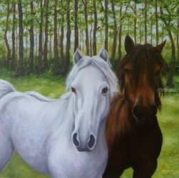 Curious Companions, Paintings, Expressionism,Fine Art,Impressionism,Modernism, Animals,Figurative,Landscape,Wildlife, Oil, By Jane Moore