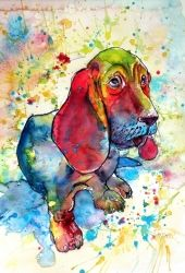 Cute basset hound, Paintings, Impressionism, Animals, Watercolor, By Kovacs Anna Brigitta