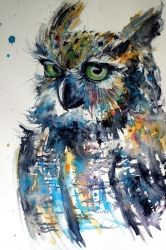 Cute owl, Paintings, Impressionism, Animals, Watercolor, By Kovacs Anna Brigitta
