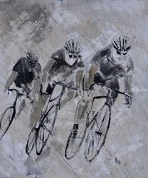 Cycling in the rain, Paintings, Expressionism, Figurative, Canvas, By Pol Ledent
