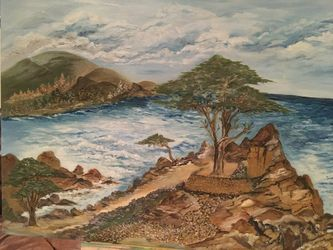 Cypress tree in Carmel, Paintings, Fine Art, Landscape, Canvas, By Lubov Pavluk